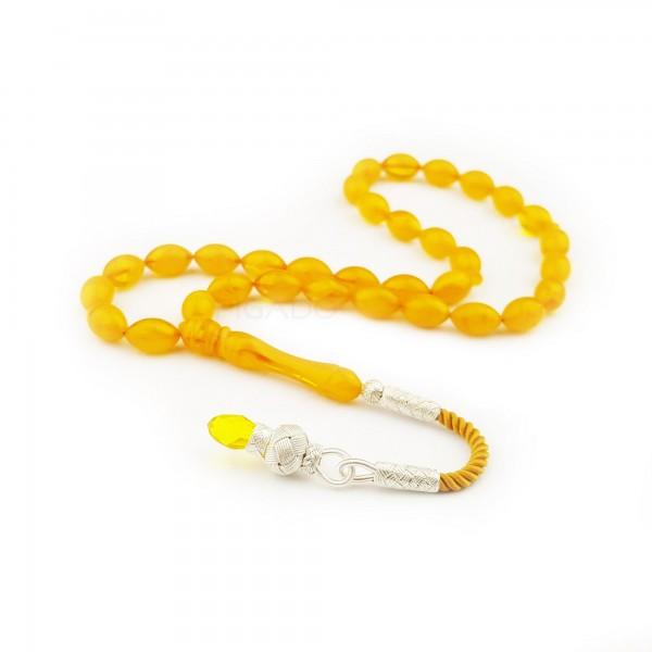 1000 Ayar Kazaz Püsküllü Sarı Sıkma Kehribar Tesbih