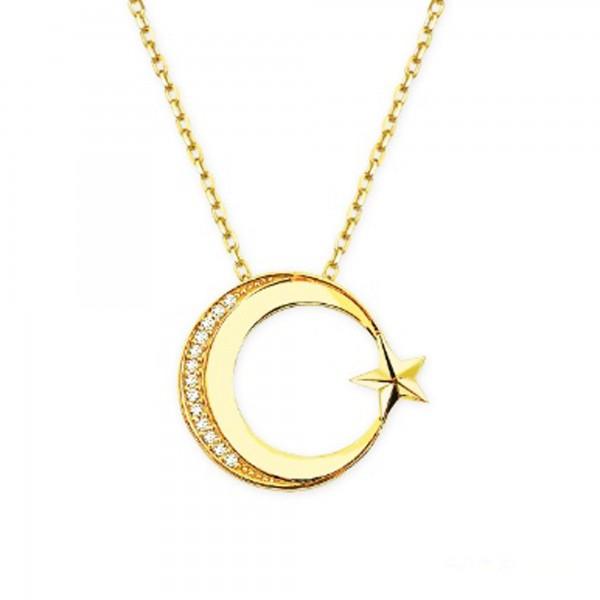 14 Ayar Ayyıldız Model Altın Kolye