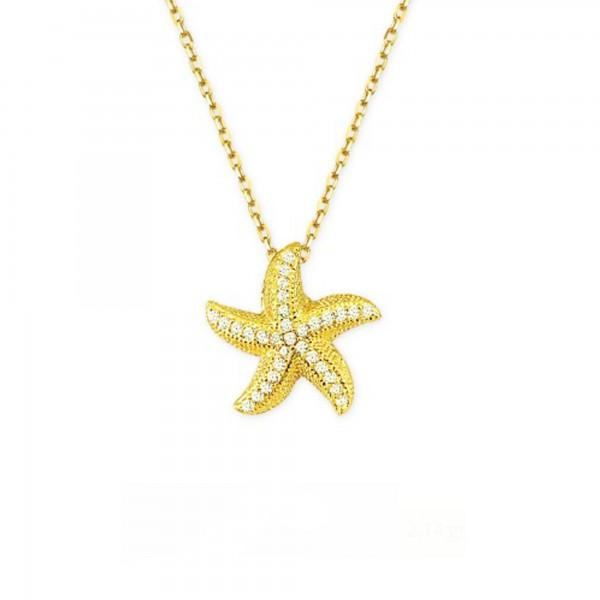 14 Ayar Deniz Yıldızı Model Altın Kolye