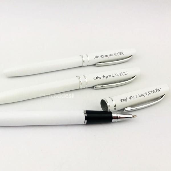 3 adet İsme Özel Metal Roller Kalem - Beyaz