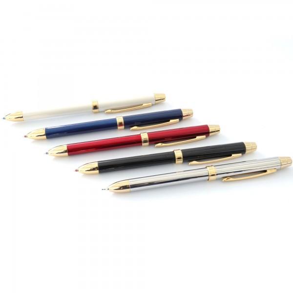 Üçü Bir Arada Mavi Kırmızı Tükenmez Uçlu Kalem Steel Pen Kalem