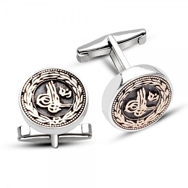925 Ayar Gümüş Çiçek Desenli Tuğra Model Kol Düğmesi