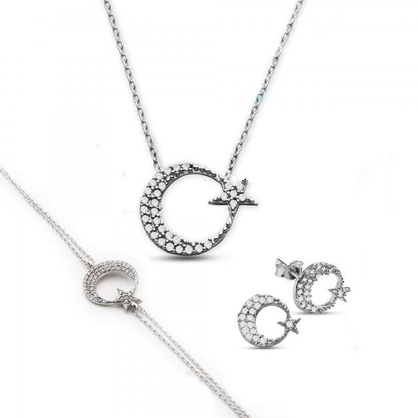 925 Ayar Gümüş Ayyıldız Kolye & Küpe & Bileklik Set