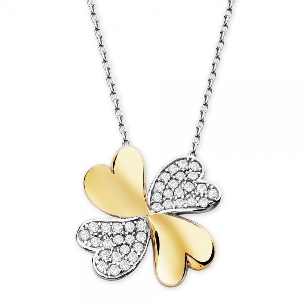 925 Ayar Gümüş Bayan Kolye Kalp Yaprak Sevgiliye
