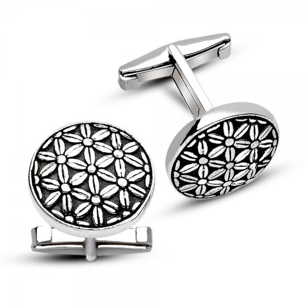 925 Ayar Gümüş Çiçekli Kol Düğmesi Kadife K...