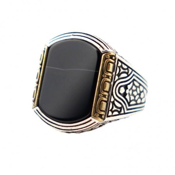 925 Ayar Gümüş Damarlı Oniks Taşlı Erkek Yüzük