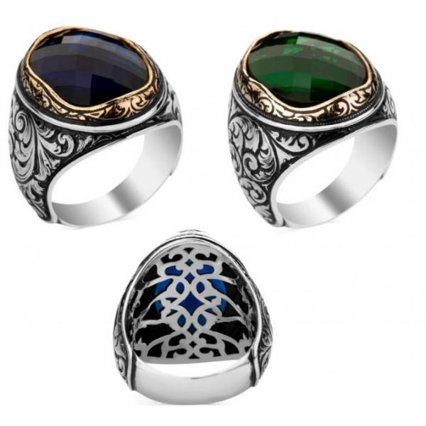 925 Ayar Gümüş Fasetatlı Yeşil & Mavi Doğaltaş Yüzük