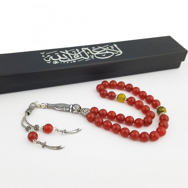 925 Ayar Gümüş Hz. Ali Zülfikar Kılıcı Kırmızı Akik Tesbih