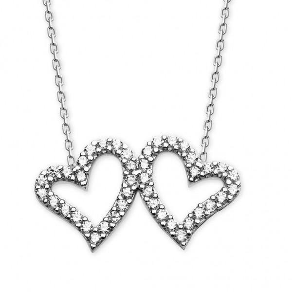925 Ayar Gümüş İki Kalp Kolye