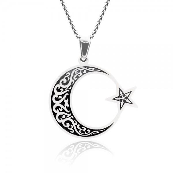 925 Ayar Gümüş İşlemeli Deri İpli Ayyıldız Erkek Kolye