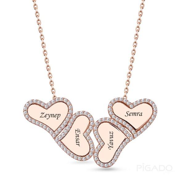 925 Ayar Gümüş İsme Özel Dört Kalp Rose Kolye