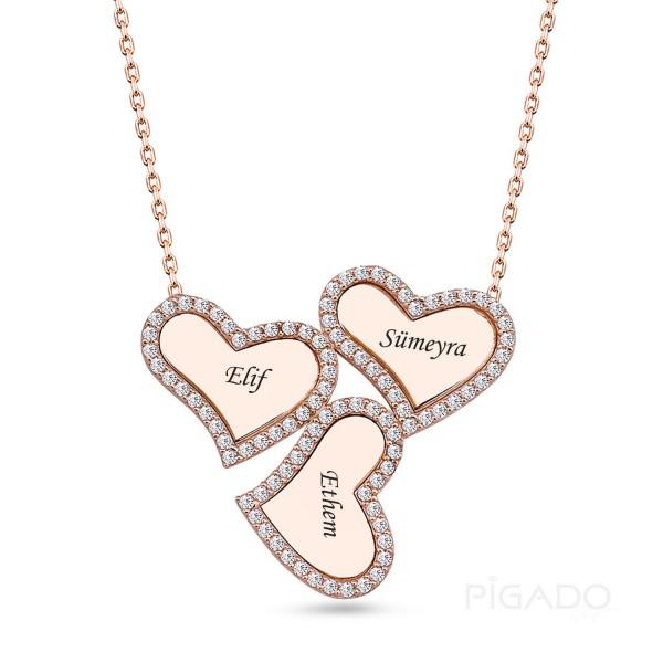 Gümüş İsme Özel Üç Kalp Rose Kolye