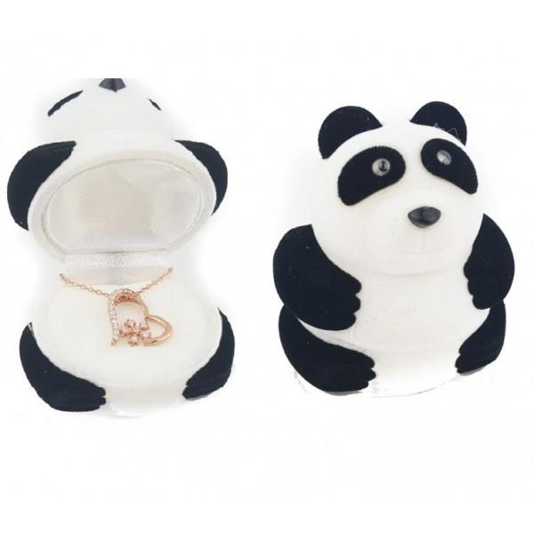 925 Ayar Gümüş Kadife Panda Kutusunda Kalpli Kar Tanesi Kolye