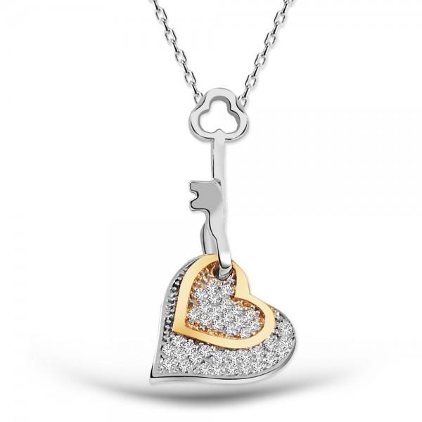 925 Ayar Gümüş Kalbimin Anahtarı Kolye Kadife Kutusunda