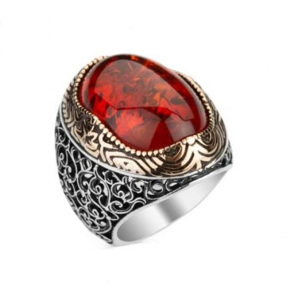 925 Ayar Gümüş Kırmızı Sentetik Kehribar Yüzük
