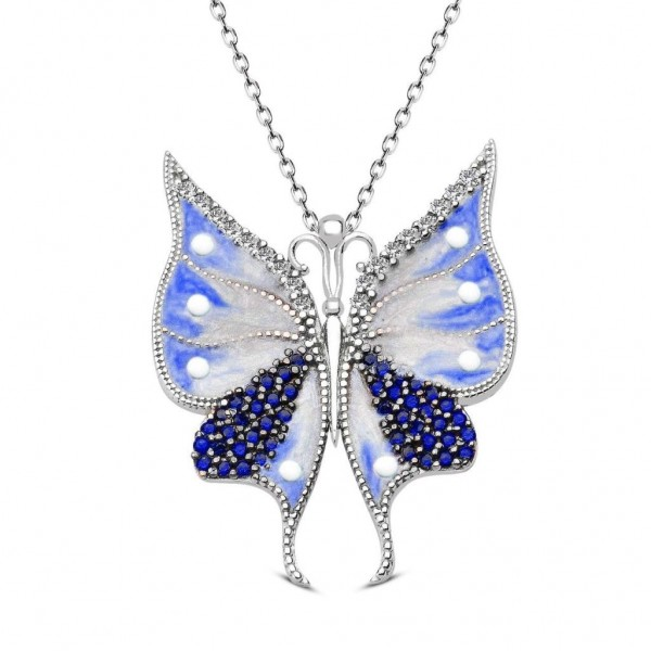 925 Ayar Gümüş Mavi Beyaz Mineli Özgür Kelebek Kolye + Kutulu