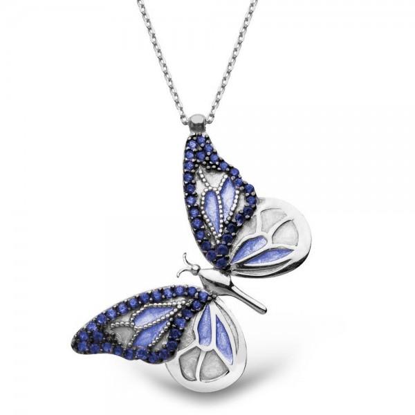 925 Ayar Gümüş Mavi Kelebek Kolye + Kadife Kutusunda