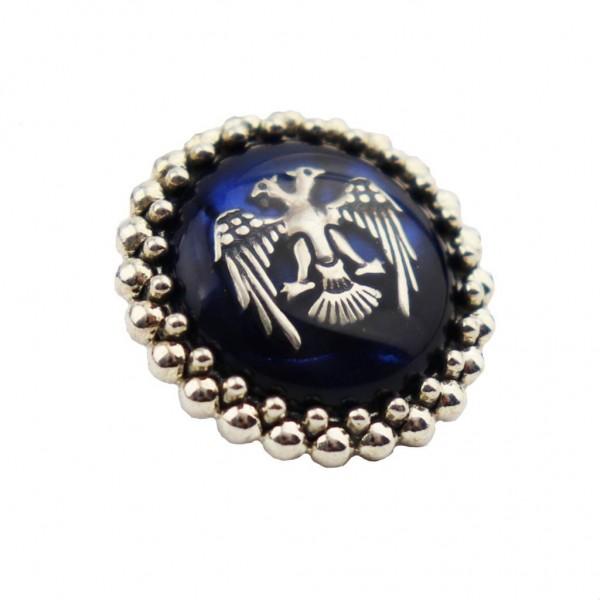 925 Ayar Gümüş Mavi Mineli Çift Başlı Kartal Figürlü Rozet
