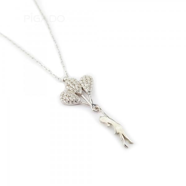 925 Ayar Gümüş Zirkon Taşlı Balon Uçuran Kız Kolye