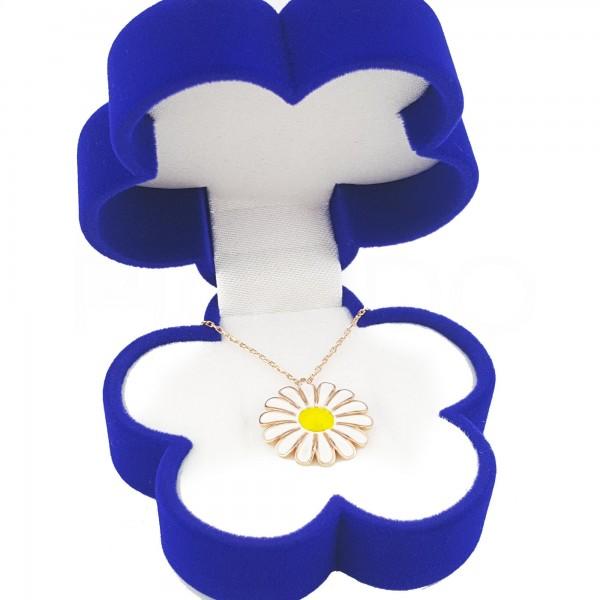 925 Ayar Gümüş Papatya Kadife Kutusunda Rose Papatya Kolye