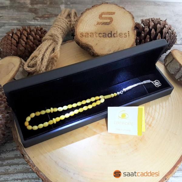 925 Ayar Gümüş Püsküllü Sarı Baltık Amberi Arpa Kesim Tesbih