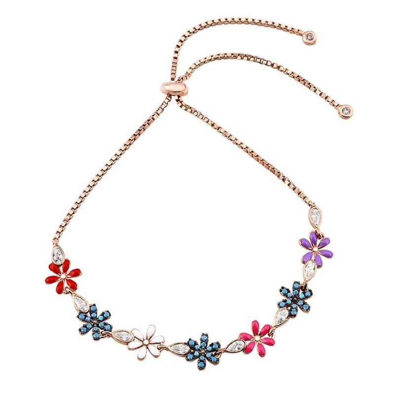 925 Ayar Gümüş Renkli Mineli Çiçek Bayan Bileklik