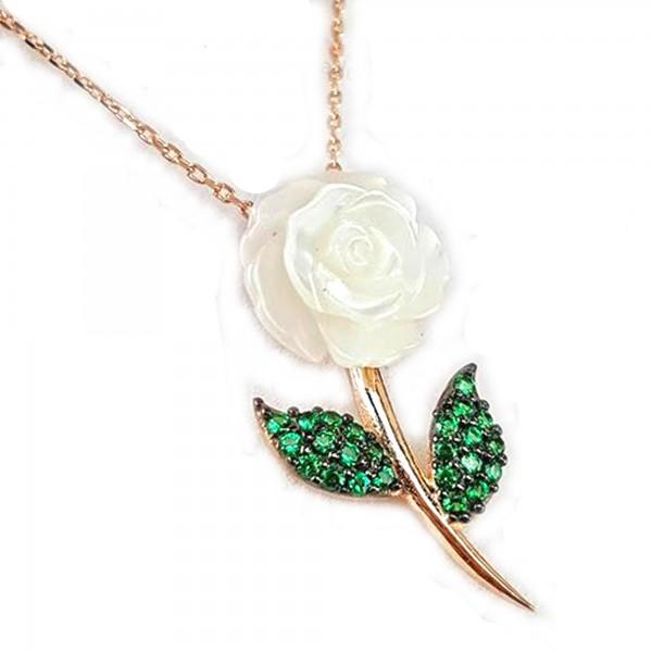 925 Ayar Gümüş Rose Gümüş Sedef Gül Kolye