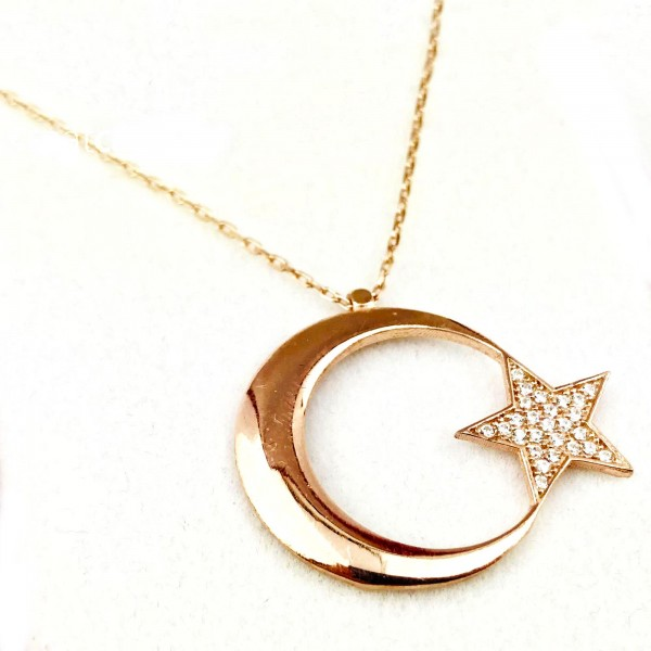 Zirkon Taşlı 925 Ayar Gümüş Ayyıldız Kolye