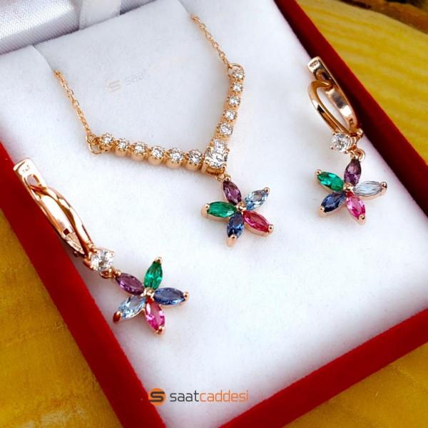 925 Ayar Gümüş Rose Renkli Çiçek Model Set