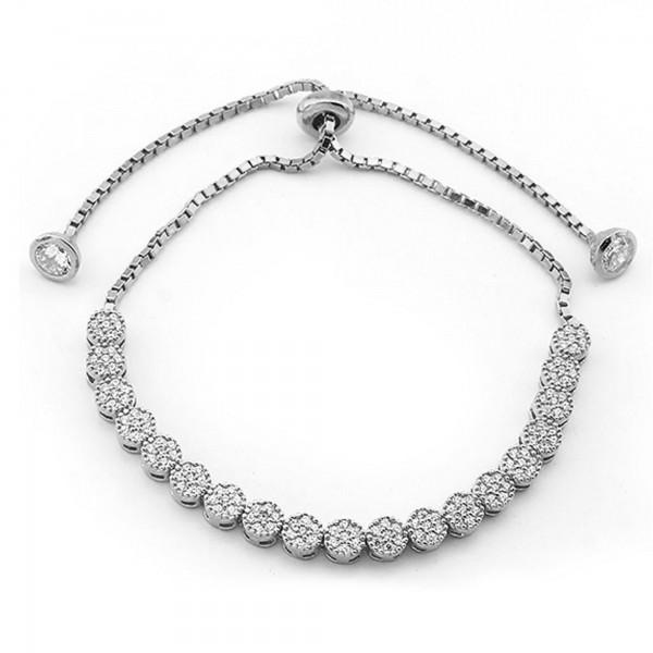925 Ayar Gümüş Zirkon Taşlı Elmas Model Bayan Gümüş Bileklik