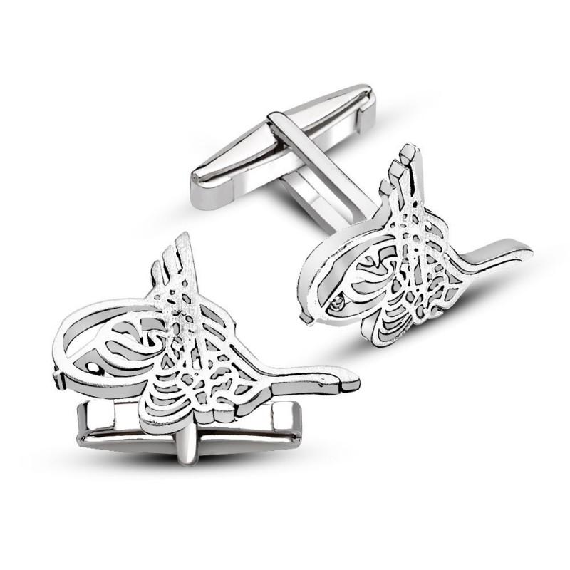 925 Ayar Gümüş Sade Tuğralı Kol Düğmesi