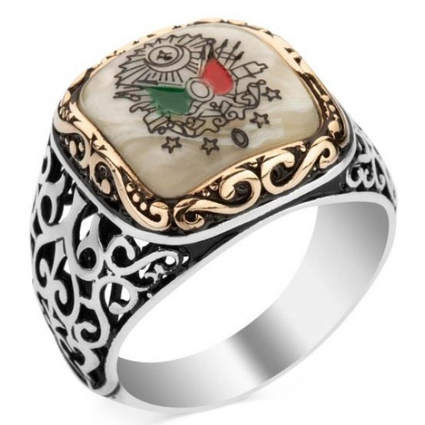925 Ayar Gümüş Sedef Üzerine Osmanlı Arması İşlemeli Yüzük