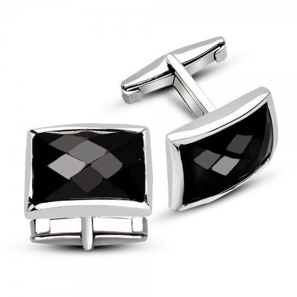 925 Ayar Gümüş Siyah Zirkon Taşlı Kol Düğmesi