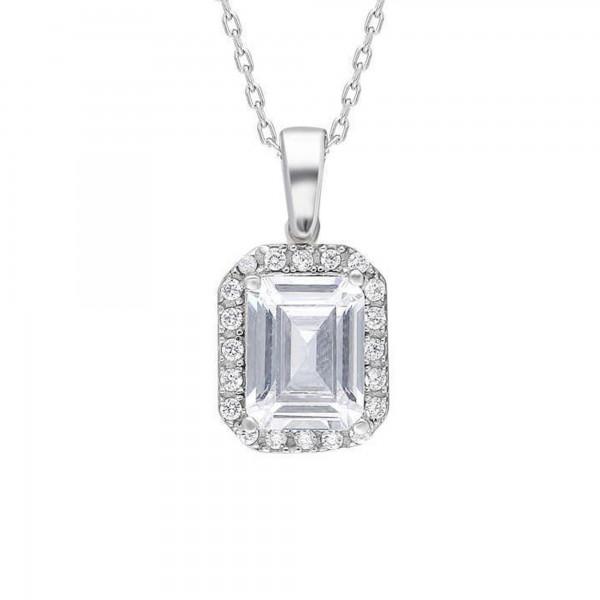 925 Ayar Gümüş Starlight Diamond Pırlanta Kare Baget Tektaş Kolye