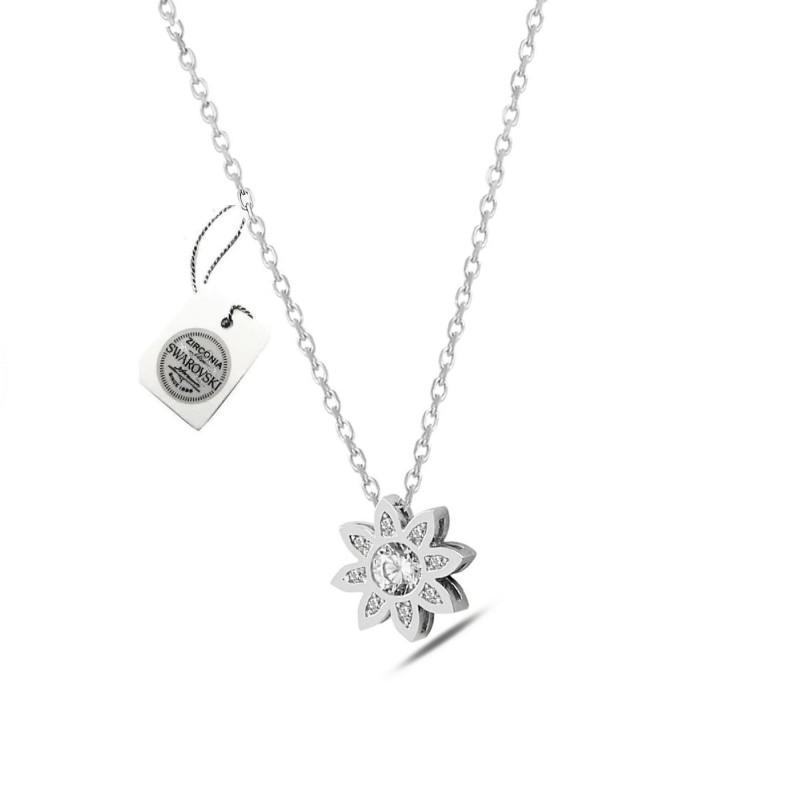 925 ayar Gümüş Swarovski Taşlı Aşk Çiçeği Kolye Sertifikalı