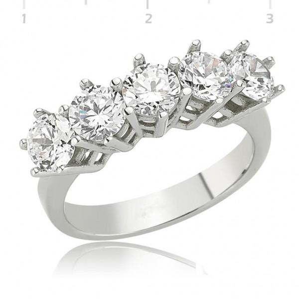 925 Ayar Gümüş Gümüş Beş Taş Yüzük Bayan Gümüş Yüzük