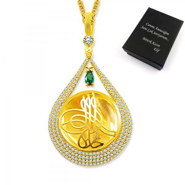 925 Ayar Gümüş Tuğra Desen Damla Zirkon Taşlı Madalyon Kolye