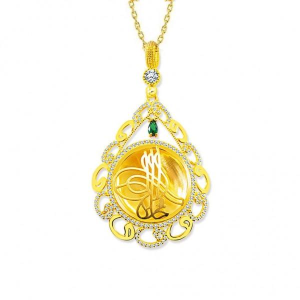 925 Ayar Gümüş Altın Kaplama Tuğra Desen Vav Madalyon Kolye