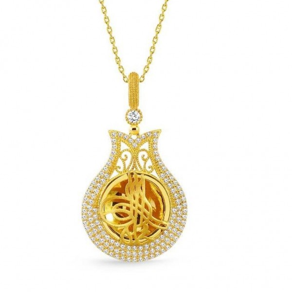 925 Ayar Gümüş Tuğra Tasarım Altın Sarısı Lale Annelere Kolye