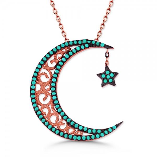 925 Ayar Gümüş Turkuaz Taşlı Ay ve Yıldız Tasarım Kolye