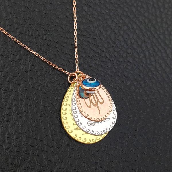 925 Ayar Gümüş Üç Renk Nazar&Ayetel Kürsi&Allah Yazılı Kolye