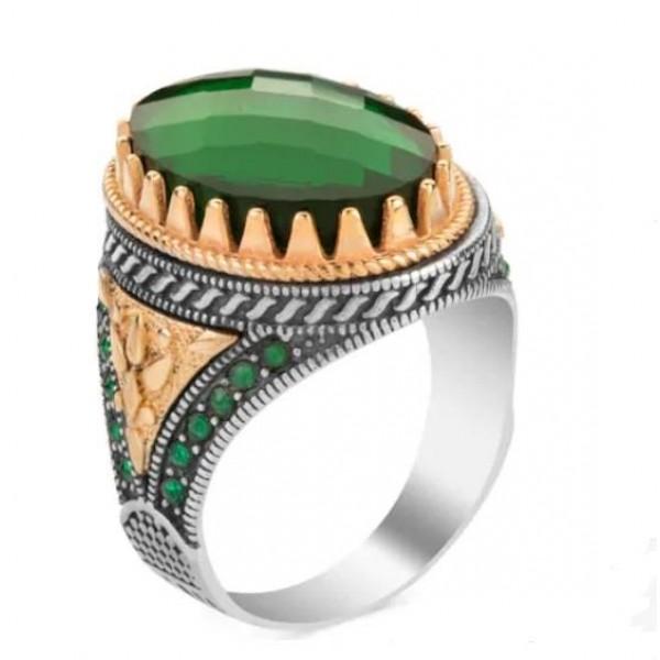 925 Ayar Gümüş Yeşil Akik Taşlı İşlemeli Yüzük