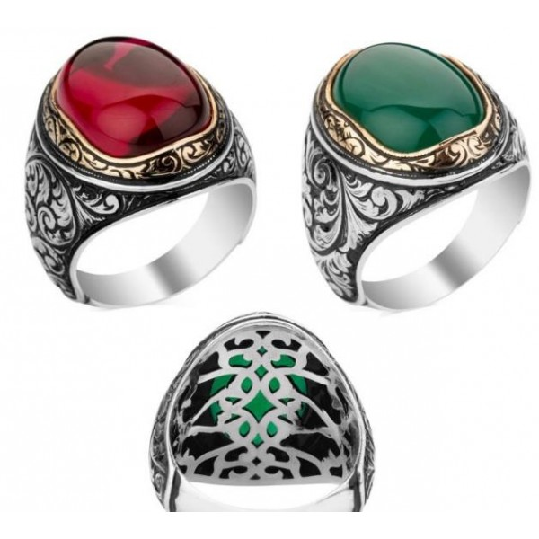 925 Ayar Gümüş Yeşil & Kırmızı Akik Ta�...