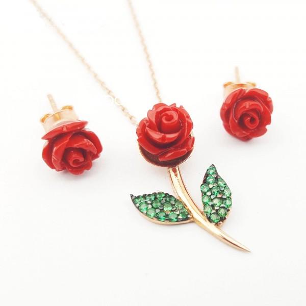 925 Ayar Gümüş Yeşil Yapraklı Sedef Gül Kolye Küpe Seti Rose