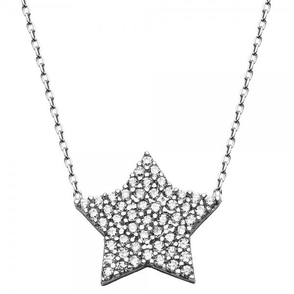 925 Ayar Gümüş Zirkon Taş Yıldız Kolye