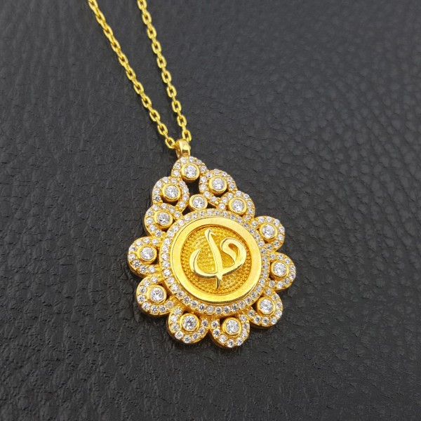925 Ayar Gümüş Zirkon Taşlı Altın Sarısı Elif Vav Kolye