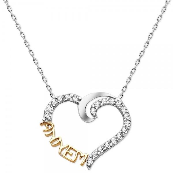 925 Ayar Gümüş Zirkon Taşlı Annem Kalp Kolye Anneler Günü