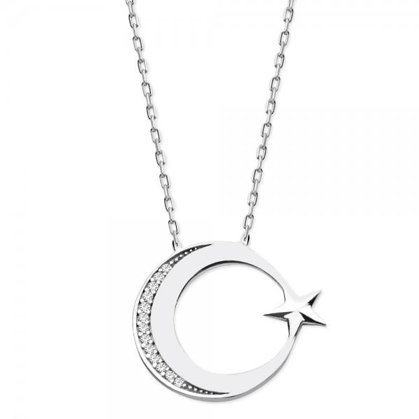 925 Ayar Gümüş Zirkon Taşlı Ayyıldız Kolye