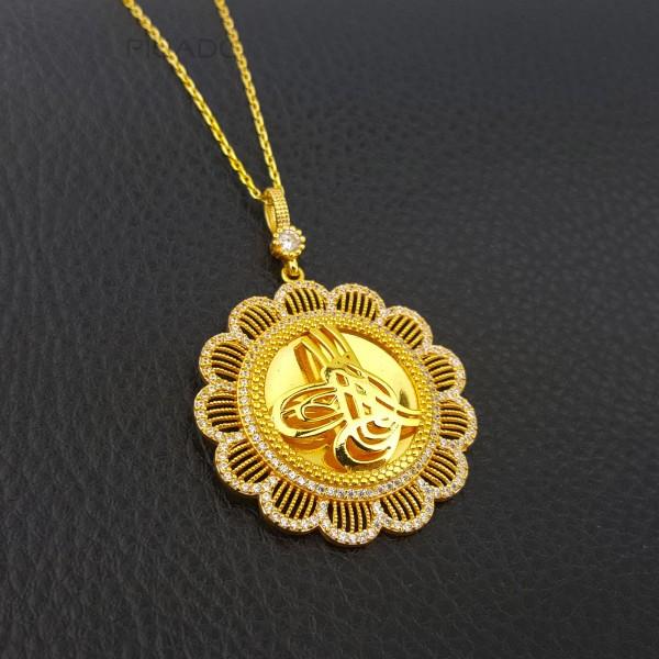 925 Ayar Gümüş Zirkon Taşlı Çiçek Tuğralı Kolye