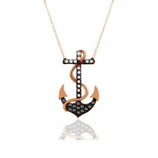 925 Ayar Gümüş Zirkon Taşlı Denizci Çapa Kolye